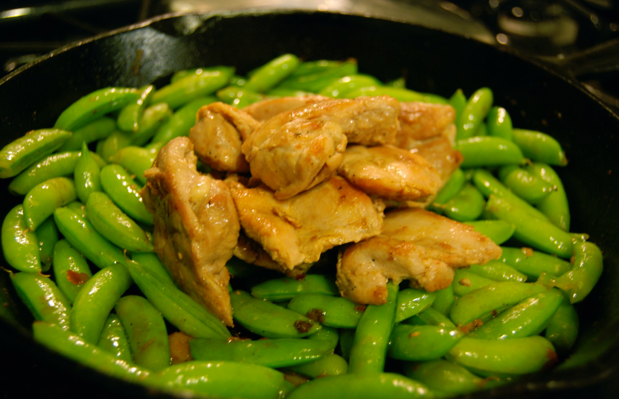 Chicken with Garlic, Chili, & Snap Peas