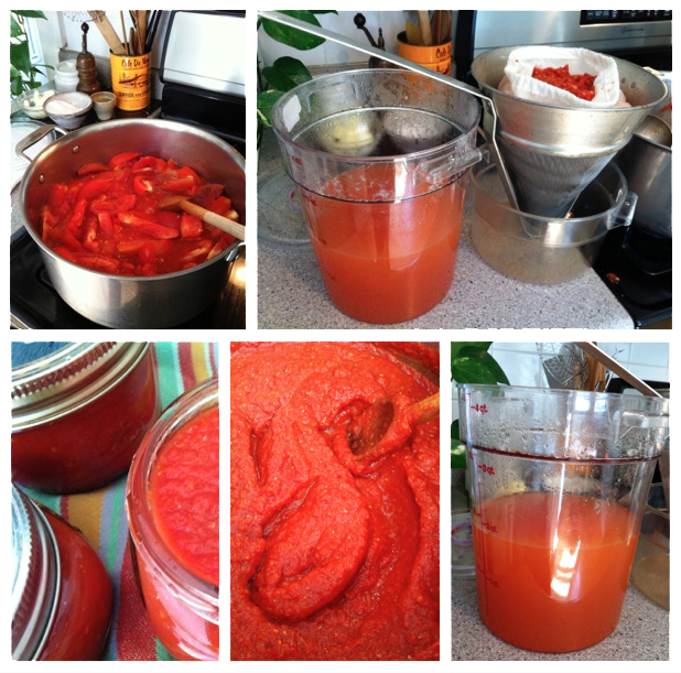 Separating tomatoes into broth and paste